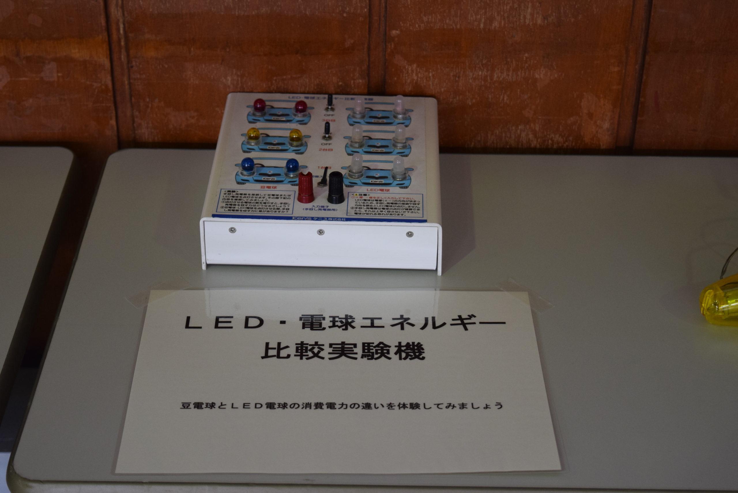 LED・電球エネルギー比較実験器:豆電球とLEDの消費電力を比較できる装置です。
