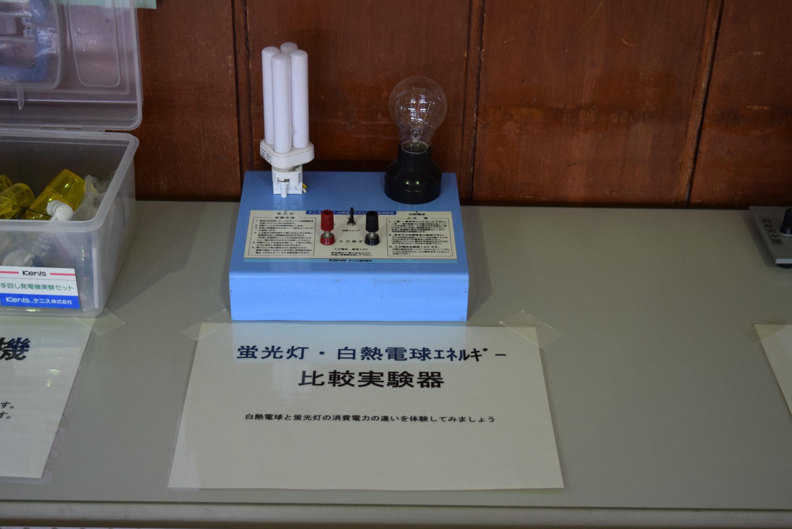 蛍光灯・白熱電球エネルギー比較実験器:蛍光灯と白熱電球を、手回し発電機を使って点灯させます。その時に消費するエネルギーの違いを、手回し発電機を回すときの負荷(回しにくさ)で体感することができます。
