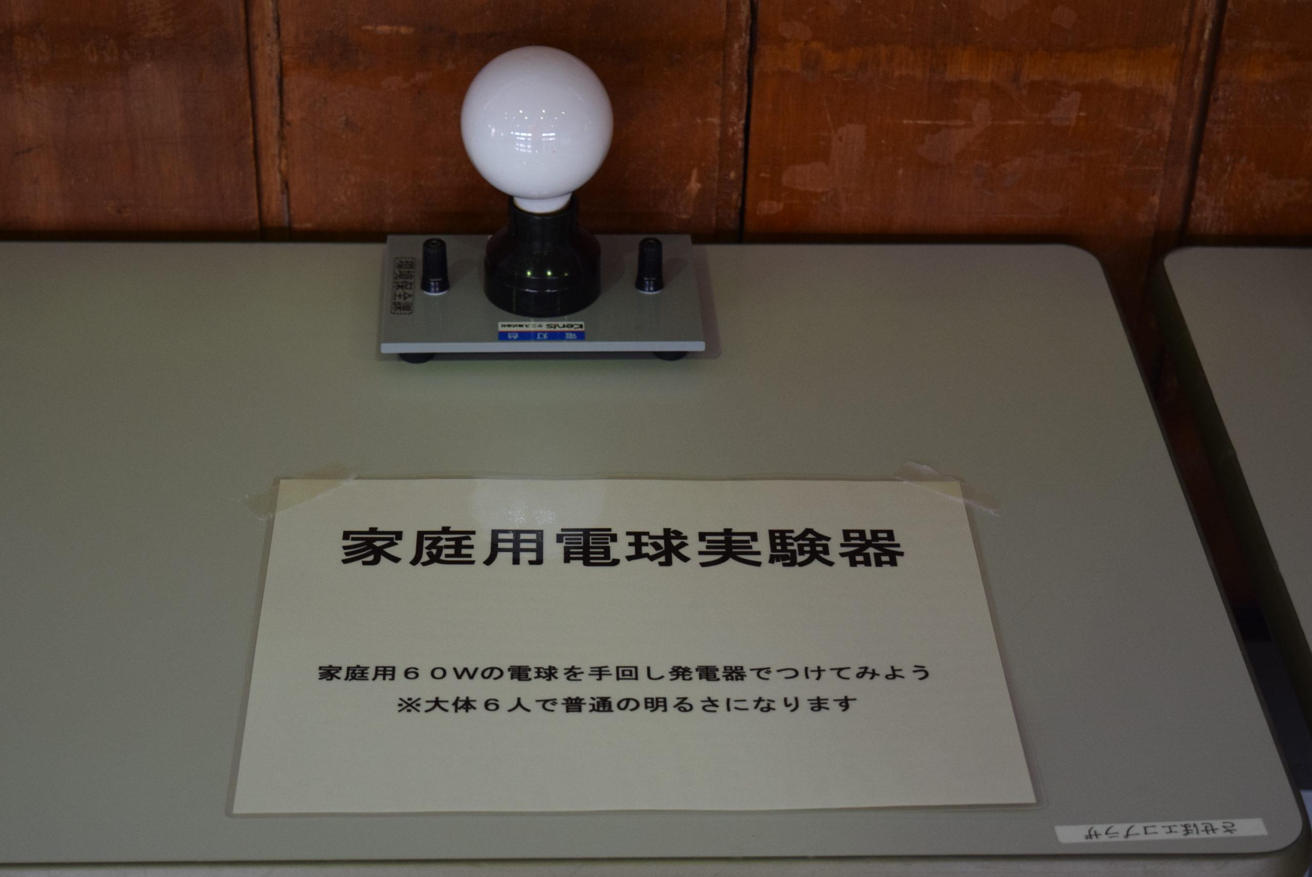 家庭用電球実験器:60Wの白熱電球を手回し発電機によって点灯させます。大人6名で普段利用している明るさになります。